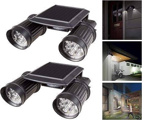 HULYZLB Luz Solar Exterior, Escaleras Solares De Doble Cabezal, 14 Luces De Seguridad LED con Sensor De Movimiento para Jardín Al Aire Libre, A Prueba De Agua: Amazon.es: Deportes y aire libre