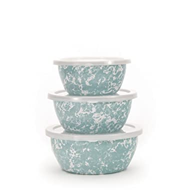 Enamelware - Sea Glass Teal Swirl Pattern - Set of 3 Storage Bowls with Lids