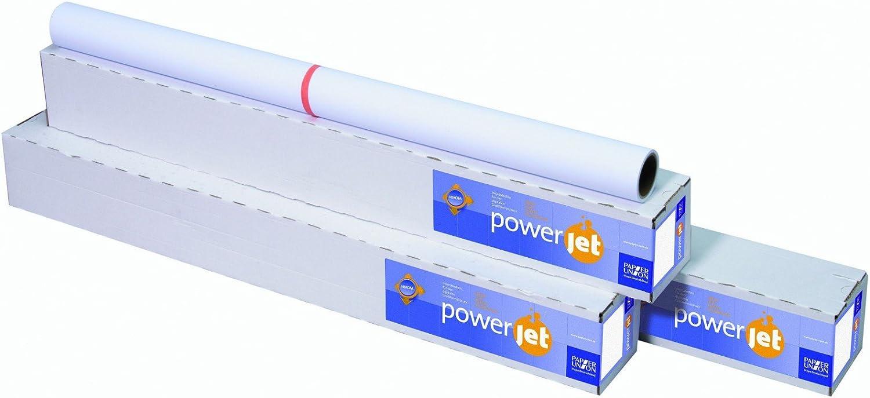 Power Jet 7612 090 24 01 9 Inkjet papeles para plotter ruedas y formatos 610 mmx45 m Color Blanco: Amazon.es: Oficina y papelería