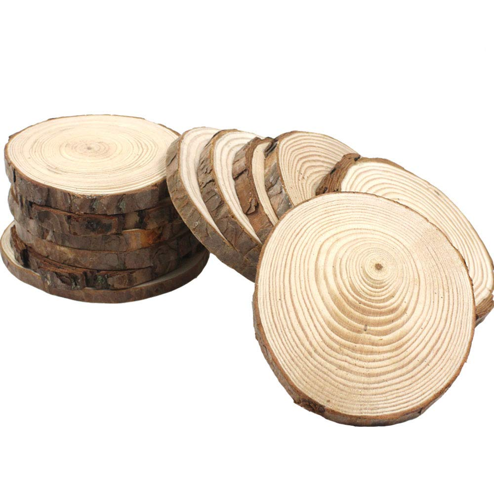 JPSOR 12pcs 3.5''-4'' Pure Natural Unfinished Wood Slices DIY Handmade Wedding Craft Ornaments (12pcs)