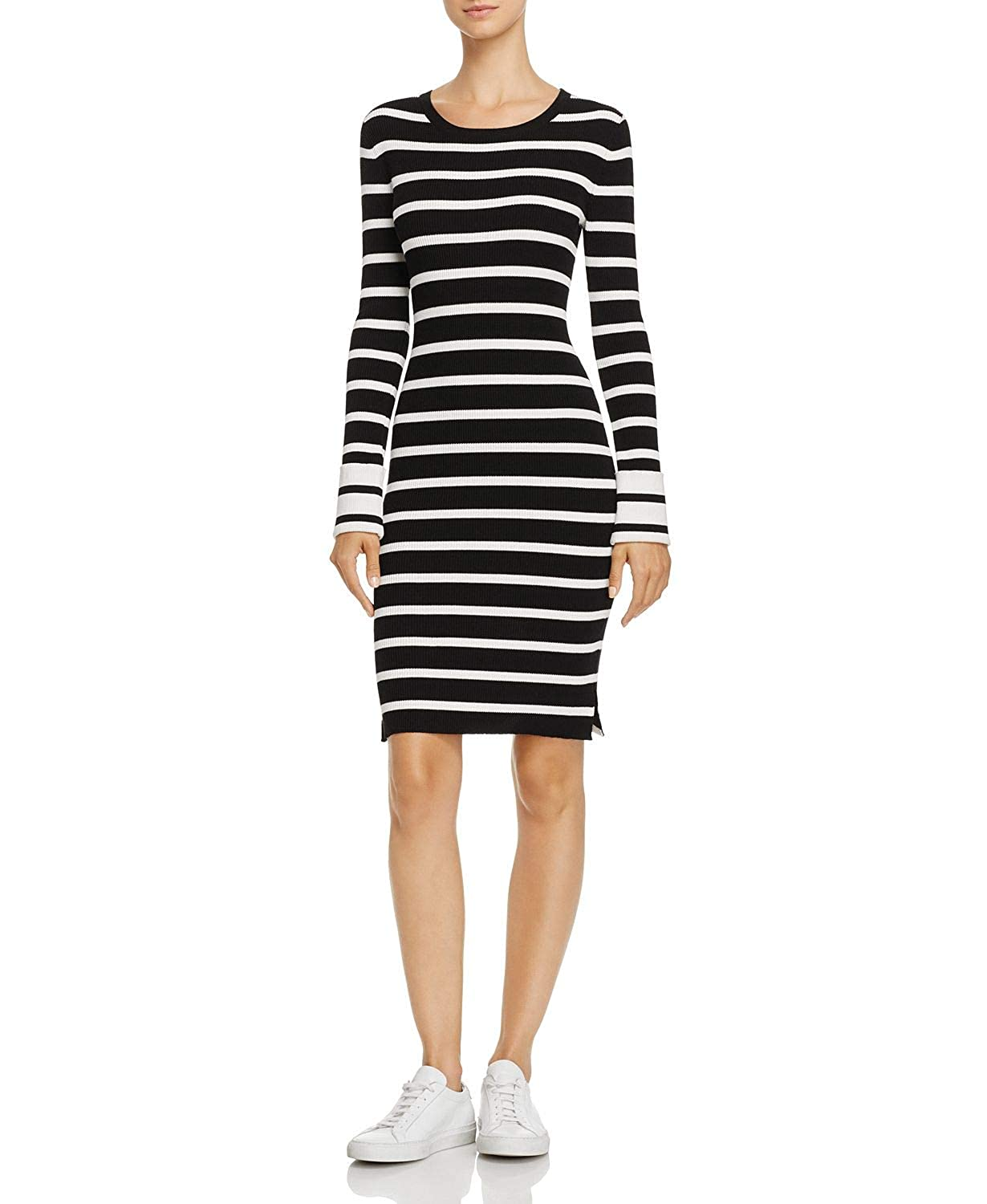 Black//Eggshell Theory Womens Prosecco Striped Crewneck Fitted Sheath Dress
