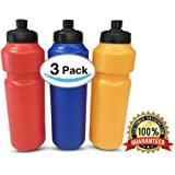 3 pack Resuable Retro Classic Squeeze Sports Bottle Push Pull Cap BPA Free for Summer Outdoors Sports Hiking Cycling (ASSORTED COLORS)