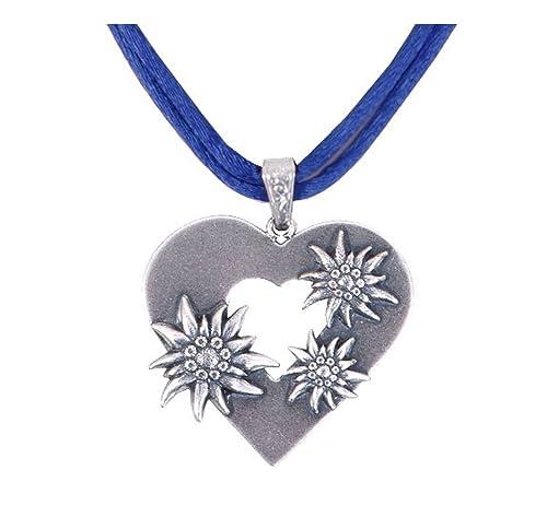 Trachtenschmuck/Damen – Trachtenkette Edelweiß/Dirndlkette Edelweißkette Trachtenherz Herzkette – Blau – Royal