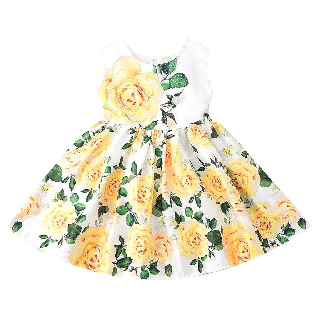 Baby Girls Sundress,Fineser Baby Girls Sleeveless Princess Floral Print A-Line Pleated Dress Toddler Skirt Sundress
