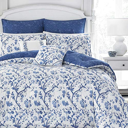(Laura Ashley Elise Bonus Comforter Set, Full/Queen, Blue)