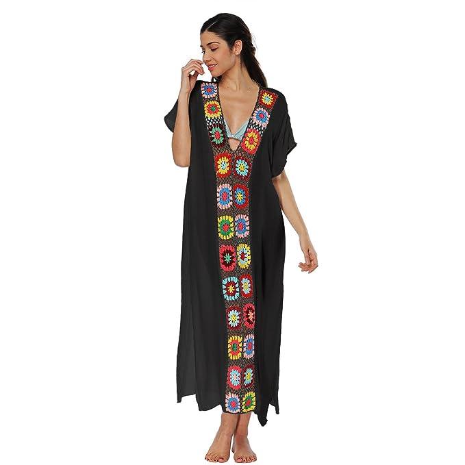 86e24b7f2f1fa Amazon.com: Qunlei Mommy and Me Bikini Swimsuit Cover up Dress V-Neck  Family Matching for Women Kids Girls: Clothing