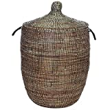 Large Solid Black African Prayer Mat Basket