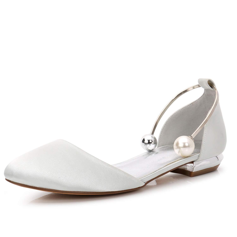 Elobaby Zapatos De Boda De Mujer Sandalias Hechas a Mano con Punta Cerrada Plana Perla Plataforma De SatéN /1.5cm TalóN / FR504 40 EU|Ivory