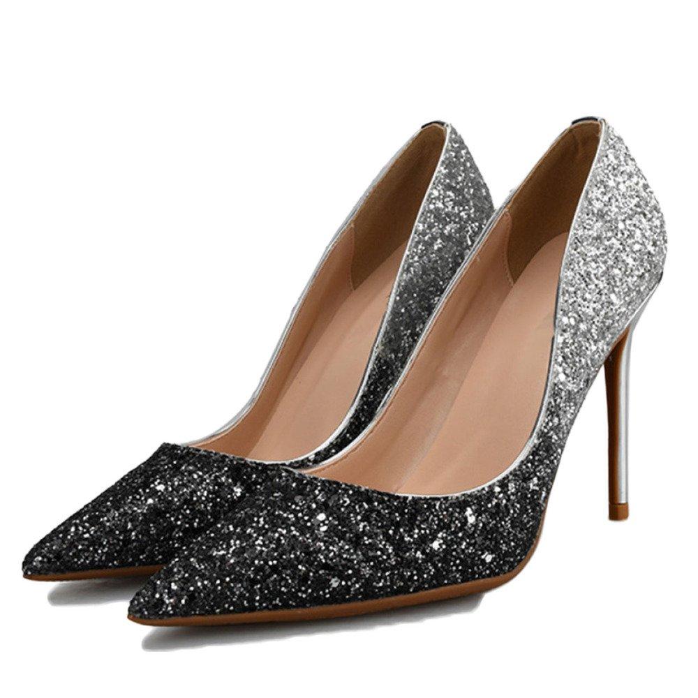 Zapatillas De Tacón Alto para Mujeres Stiletto Cerrado Zapatos De Trabajo Zapatos De Clubbing Gradient Lentejuelas Sexy Zapatos De Fiesta De La Boda 33 EU|Black