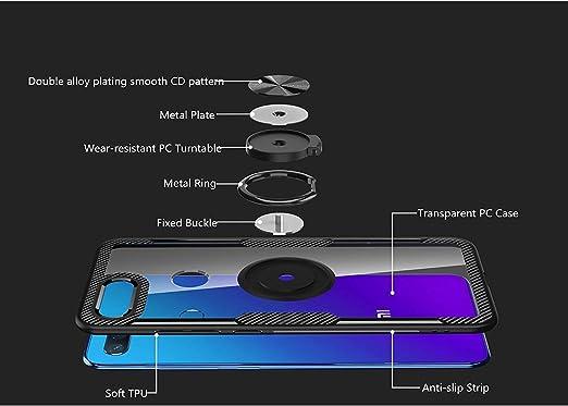 KONEE Funda Compatible con Xiaomi Mi 8 Lite, 【Transparente Anti-Rasguños 】 【360° Giratorio Anilla Posterior】 【Compatible con Soporte de Montaje ...