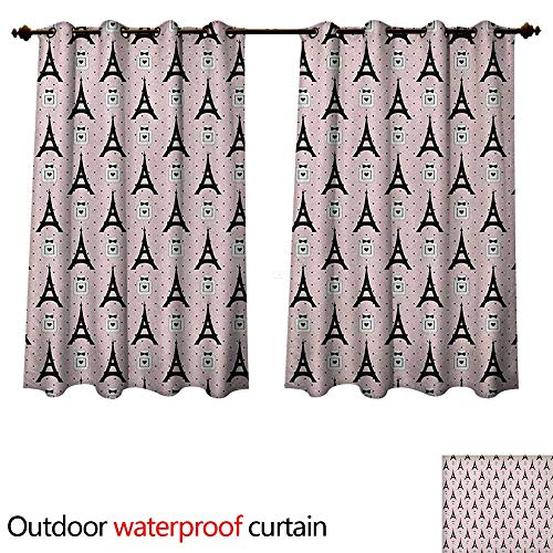 (Anshesix Eiffel Home Patio Outdoor Curtain Cartoon Eiffel Towers with Perfume Bottles on Polka Dotted Backdrop Romantic W72 x L72(183cm x 183cm))