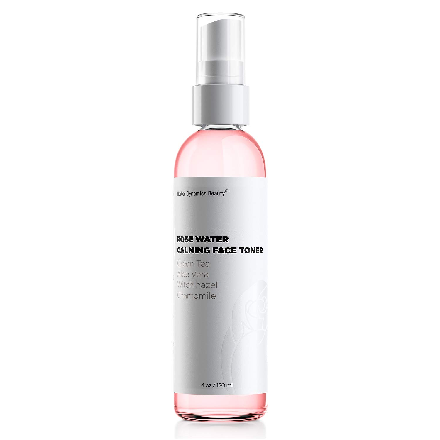 HD Beauty Rose Water Hydrating Face Toner Mist with Calming Aloe, Hyaluronic Acid and Organic Anti-Aging Ingredients, 4 oz. by Herbal Dynamics Beauty
