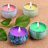 LOHOTEK Scented Candles Peach, Mango, Grapefruit & Bergamot Scented Candles, Set 4 100% Soy Candles Use Aromatherapy, Travel Tins