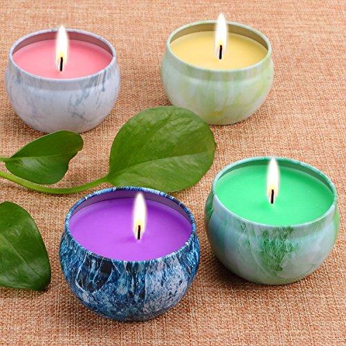 - LOHOTEK Scented Candles Peach, Mango, Grapefruit & Bergamot Scented Candles, Set 4 100% Soy Candles Use for Aromatherapy, Travel Tins