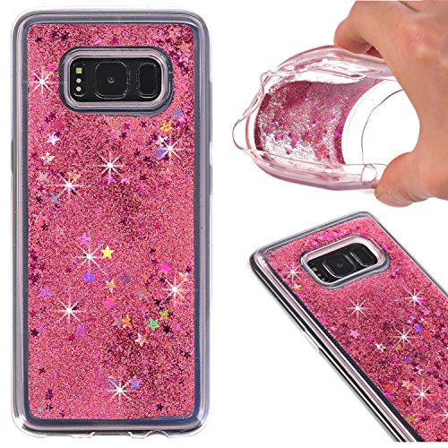 Galaxy S8 Case, AIKIN Galaxy S8 Glitter Case Luxury Fashion Bling Flowing Liquid Floating Sparkle Glitter Hard Quicksand Waterfall soft PC Cover Case for Samsung Galaxy S8 (Pink) (Samsung Waterfall)