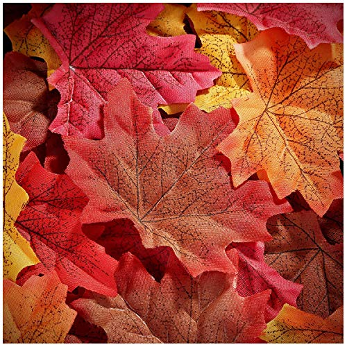 Whaline 300 Pieces Artificial Autumn Maple Leaves Mixed Fall Colored Leaf for Weddings, Events, Art Scrapbooking and Decorations (Red) -