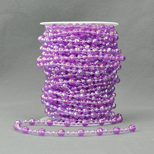 66 Feet 8mm Colorful Acrylic Garland Bead Strand Hanging Diamond Wedding Party Decoration Chandelier DIY Handcraft Clothing Bags Accessories Party Garland Centerpiece Bridal Bouquet Christmas Tree Decoration (purple)