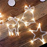 Cacys Store 8 Led Christmas Deer Light Glass Window Sucker Lamp Holiday Party Decorative For Home New Year's Day (1 Pcs, Random Colors)