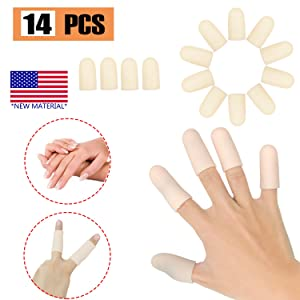Gel Finger Cots, Finger Protector Support(14 PCS) New Material Finger Sleeves Great for Trigger Finger, Hand Eczema, Finger Cracking, Finger Arthritis and More. (Nude, Middle Size)