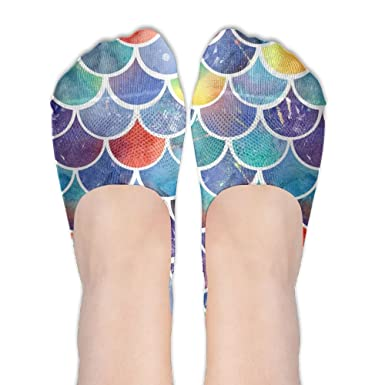 4e75d370e Honey Hall Socks Rainbow Fish Glitter Scales Womens Crew Champion Athletic  Low Cut Ankle Stockings - White -  Amazon.co.uk  Clothing