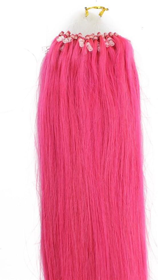 Cabeza Completa 100 G fucsia rosa Micro Loop Anillo Remy ...