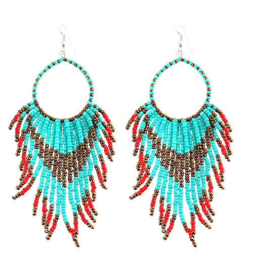 Tribal Dangle Fringe Tassel Bead & Hoop Earrings Native American Style by Pashal (Turquoise w/Red Fringe)