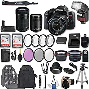 Canon EOS Rebel T6i DSLR Camera EF-S 18-135mm f/3.5-5.6 IS STM Lens + EF-S 55-250mm f/4-5.6 IS STM Lens + 2Pcs 32GB Sandisk SD Memory + Automatic Flash + Battery Grip + Filter & Macro Kits + More