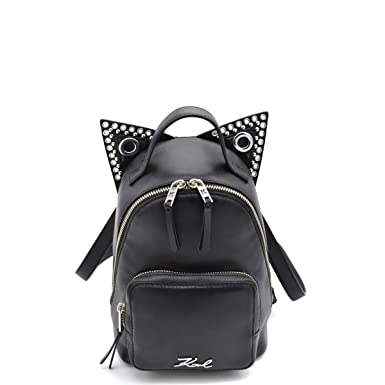 0bc77c488f7 Karl Lagerfeld Rocky Mini black leather backpack with cat ears:  Amazon.co.uk: Clothing