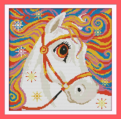 Good Value Cross Stitch Kits Beginners Kids Advanced – Rainbow Horse 11 CT 15X 15, DIY Handmade Needlework Set Cross-Stitching Accurate Stamped Patt…