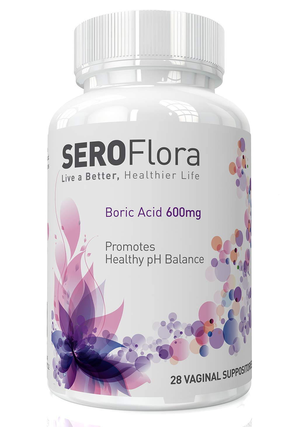 Seroflora Boric Acid Vaginal Suppositories 600mg - Bottle of 60 - pH Balance for Women - Feminine Care - Made in USA by Seroflora