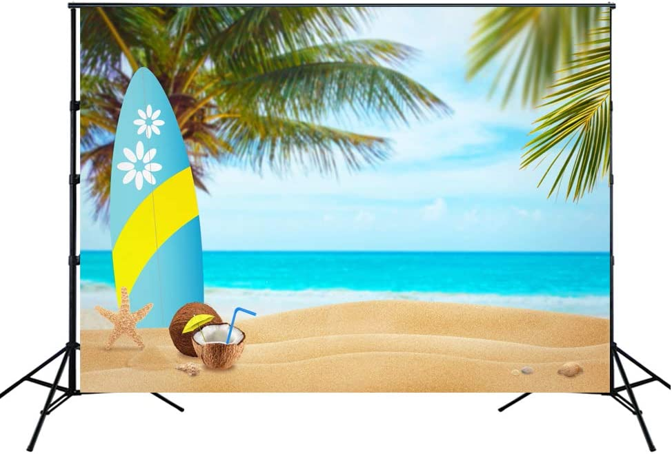 7x5ft Polyester Photography Backdrop 2018 Lettering on The Beach Sea Sunrise Seaside Landscape Coconut Tree Scene Photo Background Children Baby Adults Portraits Backdrop