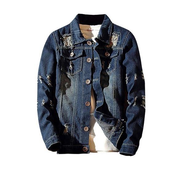 YanHoo Blusa de la Capa de la Chaqueta del Dril de algodón del Vintage del Lavado Ocasional de la Vendimia del otoño de los Hombres Chaqueta Larga con ...