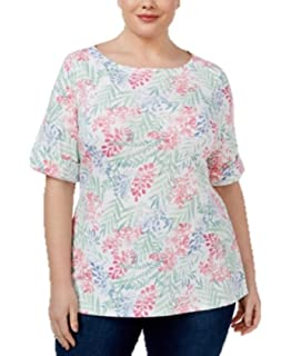 391db5b15d761 Karen Scott Womens Plus Sunny Daze Printed Ombre-Striped Casual Top ...