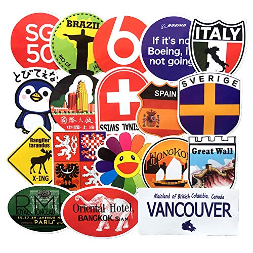 Homyu Stickers Pack 40-Pcs Decals of Travel Spots for Laptops Cars Motorcycle Portable Luggages Ipad Waterproof Sunlight-Proof ()