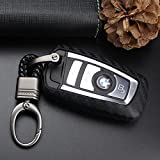 S-WEKA CARBON FIBER STYLE Black Carbon Fiber Texture Car Key Case Cover Holder Pouch Remote Key Chains Key Bag Fit For BMW keyless remote control Smart Key Fob Holder 1/2/3/4/5/6/M/X SERIES X3 X