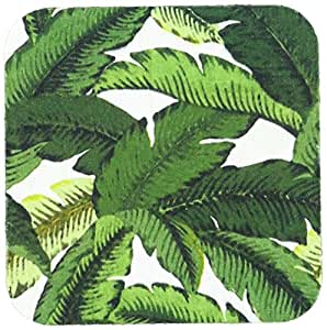 3dRose cst_100642_2 Painted Tropical Palm Leaf Pattern-Soft Coasters, Set of 8