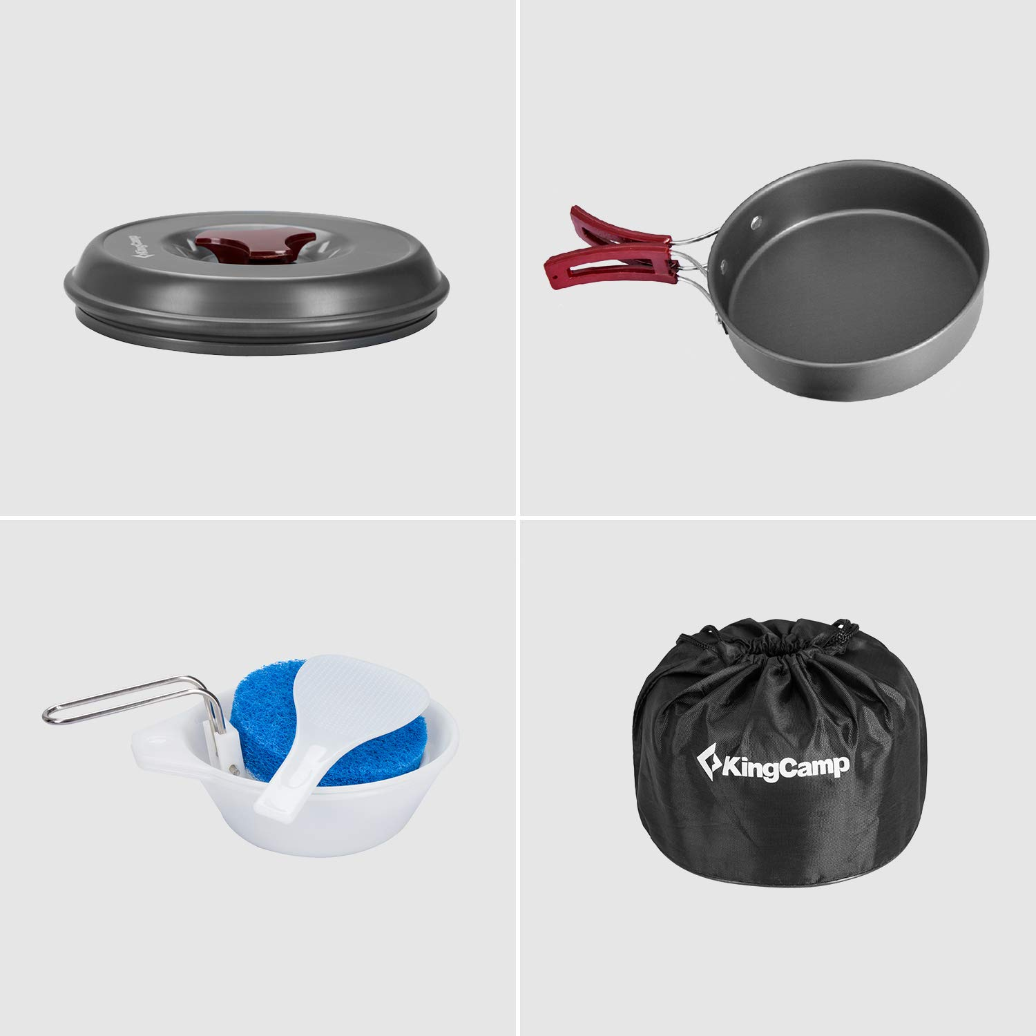 KingCamp 5//8//17 Pcs Camping Cookware Set Pot Frying Pan Kettle Teapot Backpacking Outdoors Cooking Equipment Cookset for Family