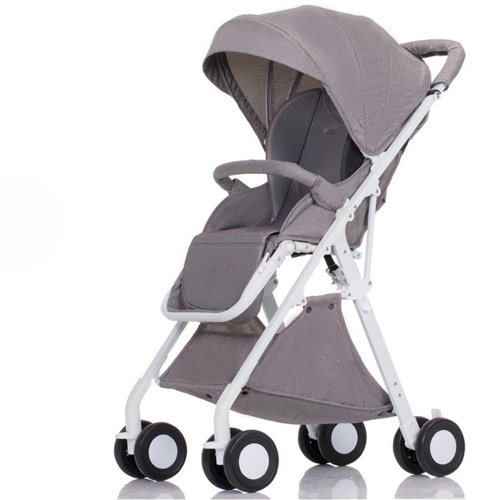 赤ちゃんのベビーカーはリクライニング軽量折りたたみ小型四輪ポータブルミニベビー傘(青)(グレー)(ピンク)(赤)55 * 40 * 105センチメートル ( Color : Gray ) B07BT4S3LX