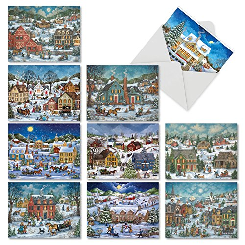 Vintage Style Christmas Card - M5080TYG-B1x10 Old Town Christmas: 10 Assorted Thank You Cards Featuring Vintage Themed Images of A Sleepy Christmas Town; With Envelopes.