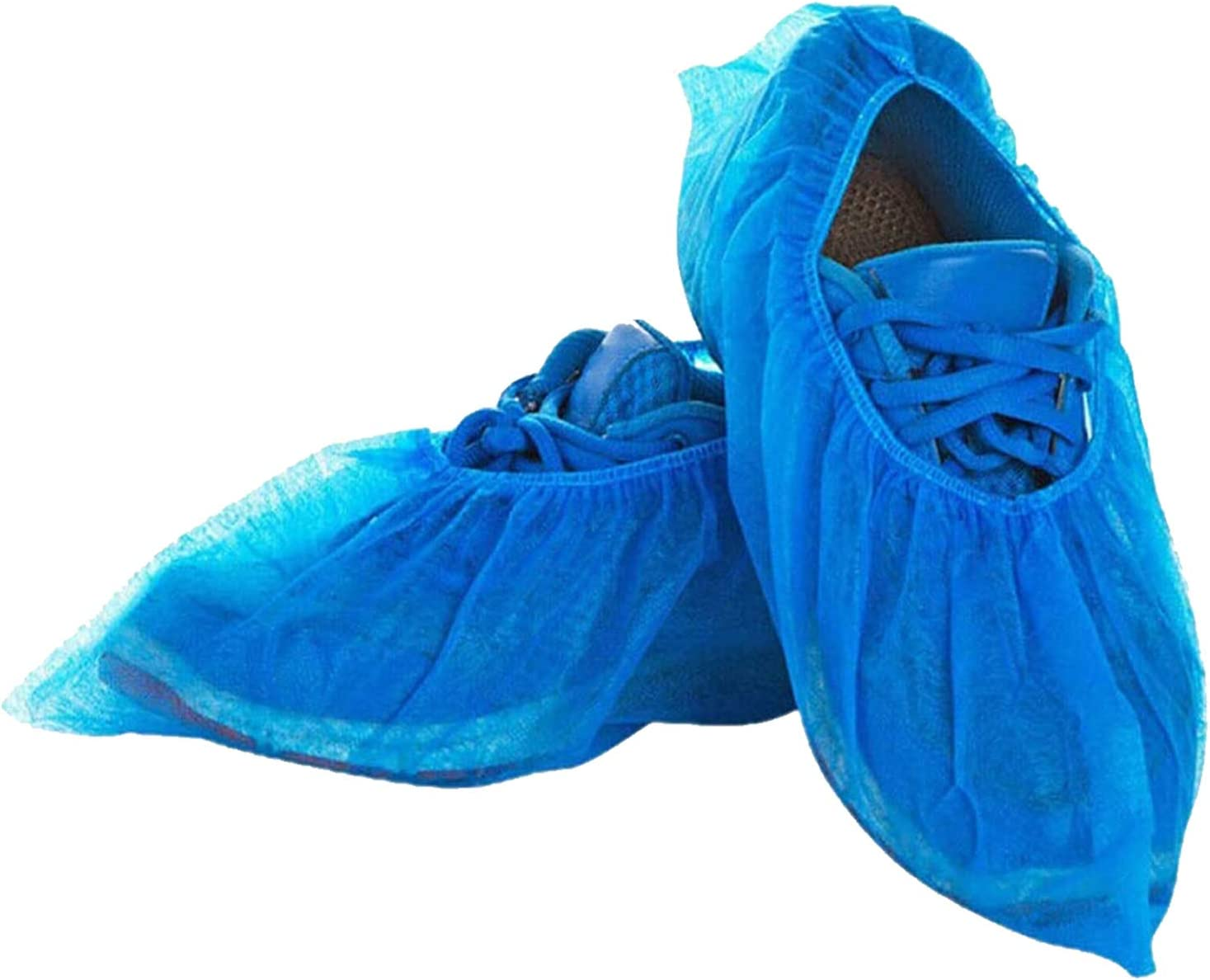 Oceantree Shoe Covers Disposable -100 Pack (50 Pairs) Disposable Shoe & Boot Covers Waterproof Slip Resistant Non Slip, Durable Boot&Shoes Cover, One Size Fits All (Clear Blue) (CPE Plastic)
