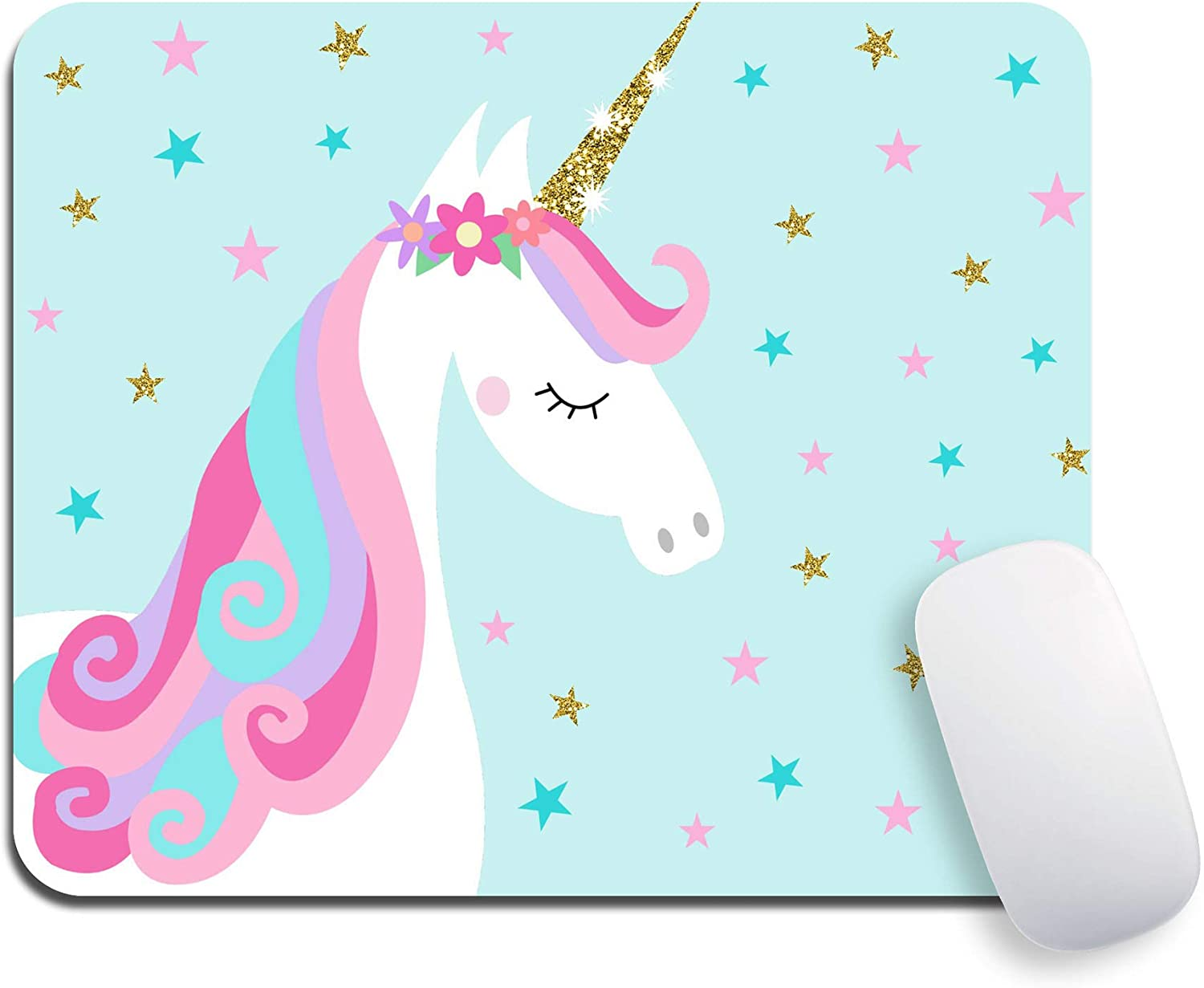 Mouse Pad, Custom Cute Unicorn with Blue Stars Mousepads, Premium-Textured Mouse Mat, Non-Slip Rubber Base Mousepad for Laptop, Computer & PC, 9.5x7.9x0.12 inches