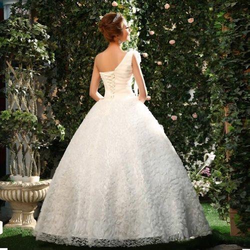 1 Weiß Blumen Damen Kristall Tuell Schulter Ballkleid Kleidungen Brautkleider Dearta Handgemachte Drapiert Bodenlang Mit t6qUnF