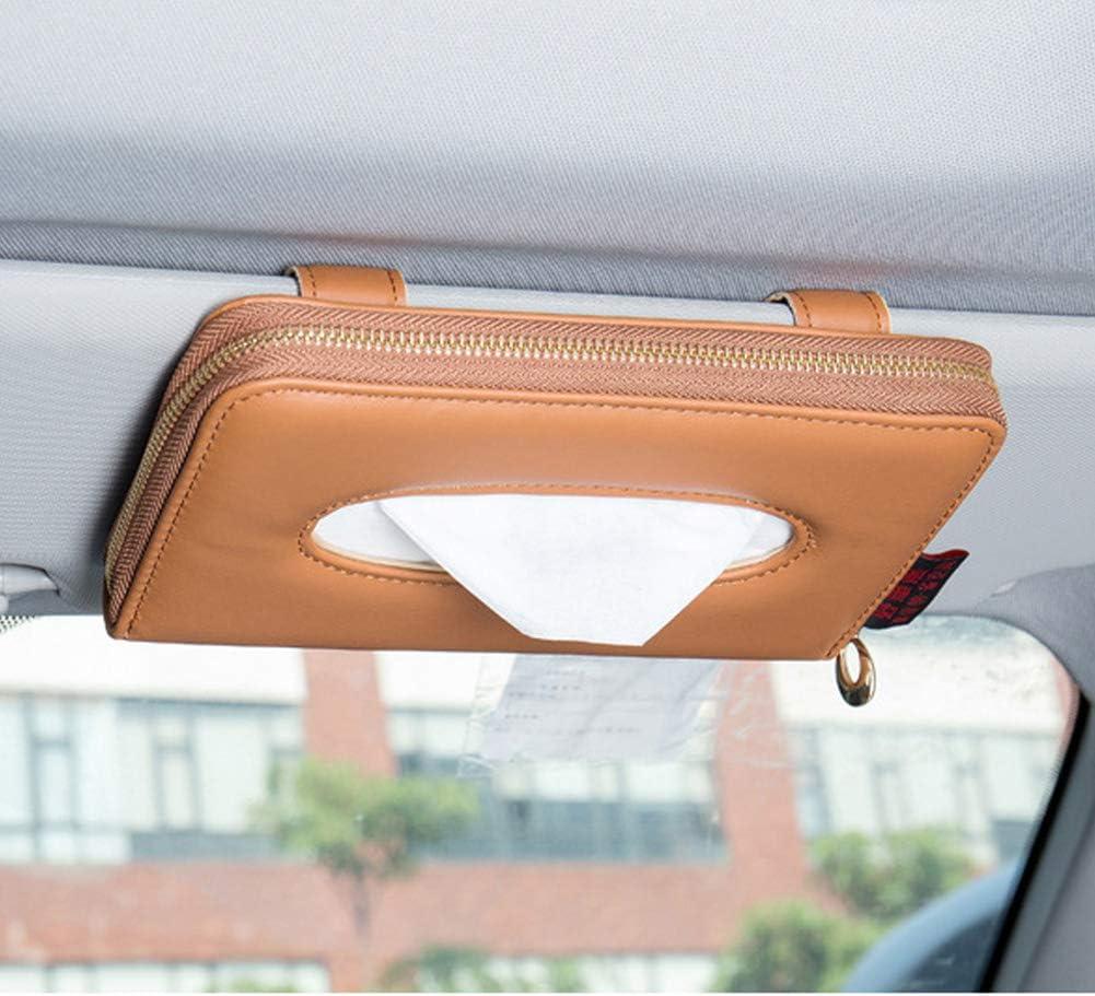 Cartisen Car Tissue Holder Grey PU Leather Backseat Tissue Case Holder for Car Vehicle with Zipper Sun Visor Tissue Holder Car Visor Napkin Holder