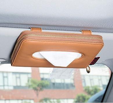 Luxury PU Leather Backseat Tissue Case Holder Cartisen Car Tissue Holder Beige Sun Visor Napkin Holder Car Visor Tissue Holder