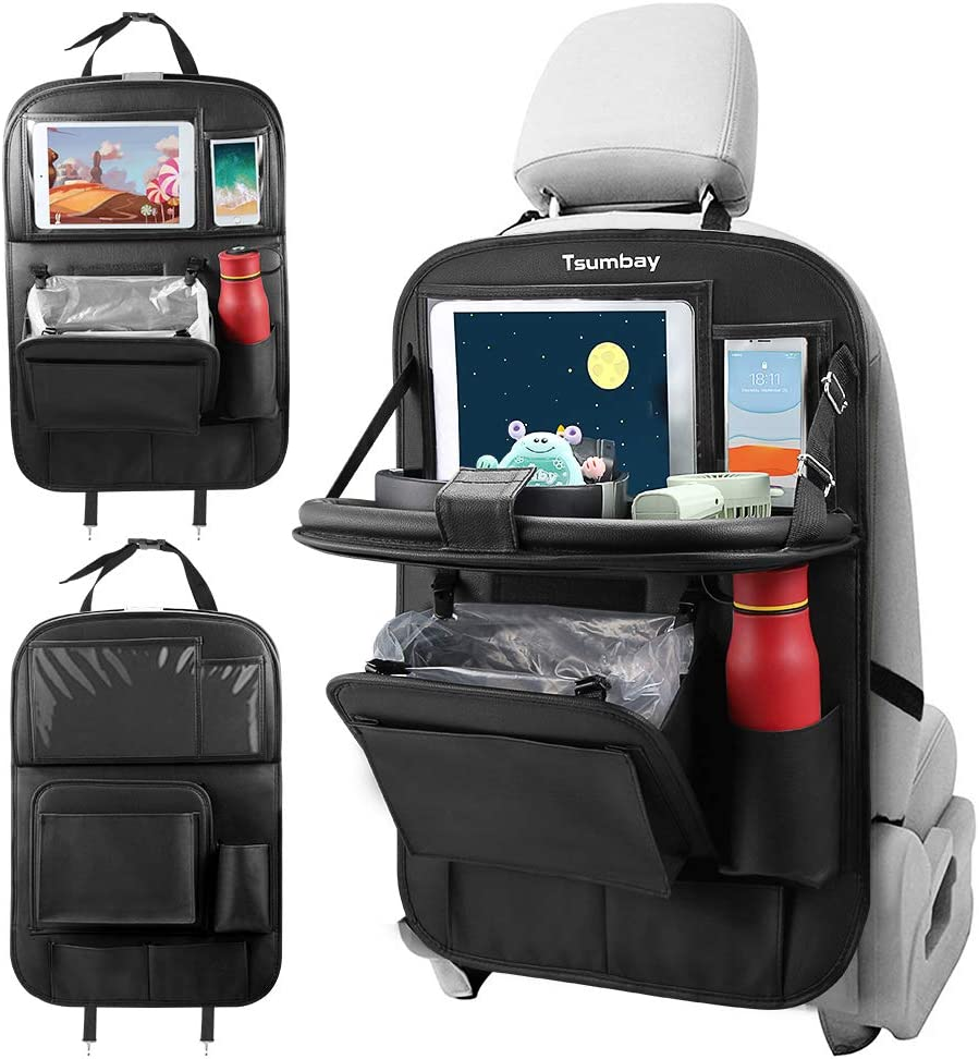 【Newest Version 】Tsumbay Car Back Seat Organizer with Trash Can PU Leather Car Storage Organizer with Foldable Table Tray,Touch Screen Tablet Holder,Car Back Seat Protectors Kick Mats -1 Piece