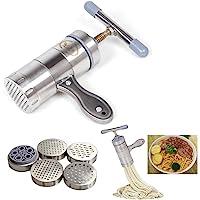 OFKPO Machine à Pâtes en Acier Inoxydable, Machine à Pâtes avec 5 Moule, Nouilles Ménagères Manuelles Créatives de Cuisine