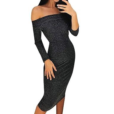 56a78ab1277c86 Felicove Damen Sexy Partykleid, Figurbetontes Kleid Schlankes Maxikleid  Langes Kleid Lange Ärmel A-Linie