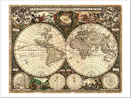 Smart art world map 1660 by ward maps fine art print 24x18 smart art world map 1660 by ward maps fine art print gumiabroncs