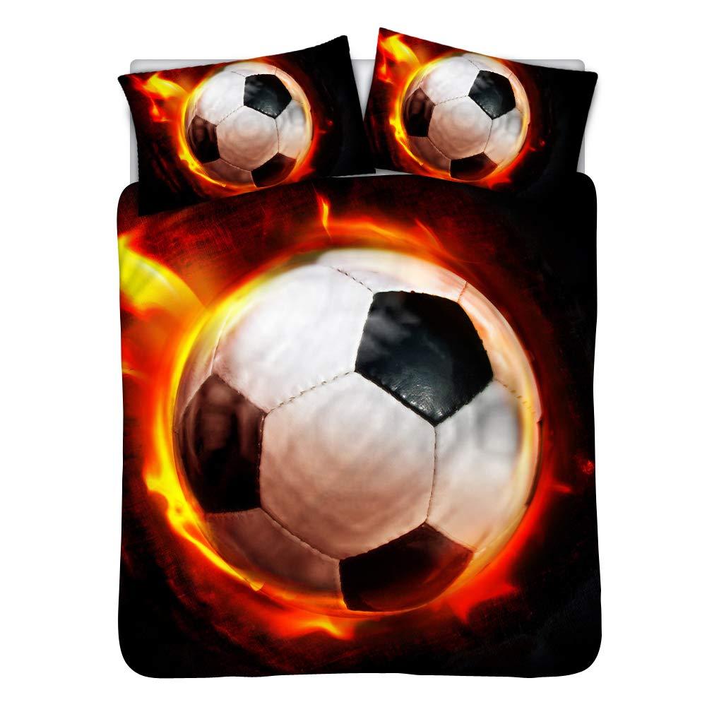 Instantarts 3Dサッカーボールプリント コットン寝具3点セット 掛け布団カバー1枚 枕カバー2枚 Twin(68''*88''/Black Lining) B07KZZ48B6 Ball 20 Twin(68''*88''/Black Lining)