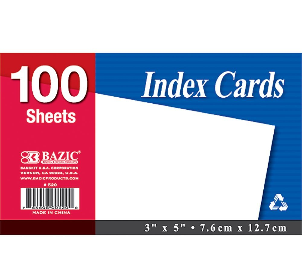 BAZIC 100 Ct. 3'' X 5'' Unruled White Index Card (Case of 36)